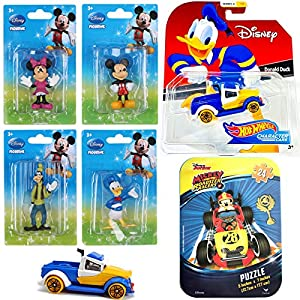 Hot Wheels Friends Character Pack Car Disney Donald Duck Racer Bundled with Minnie Mouse / Mickey & Goofy 4 Pack Mini…