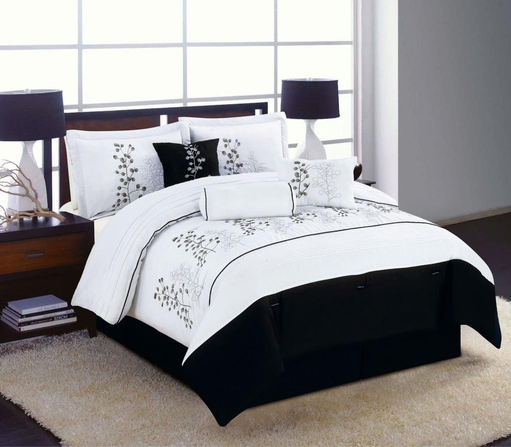 7pc King Size Bedding Comforter Set Black White Winter Blossom Embroidered