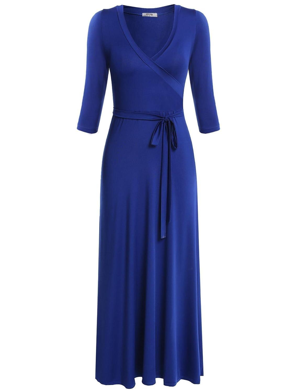 Meaneor Women V Neck Wrap Tie Waist Maxi Dress 3/4 Sleeve Floral Full Long Dress MAH005061#