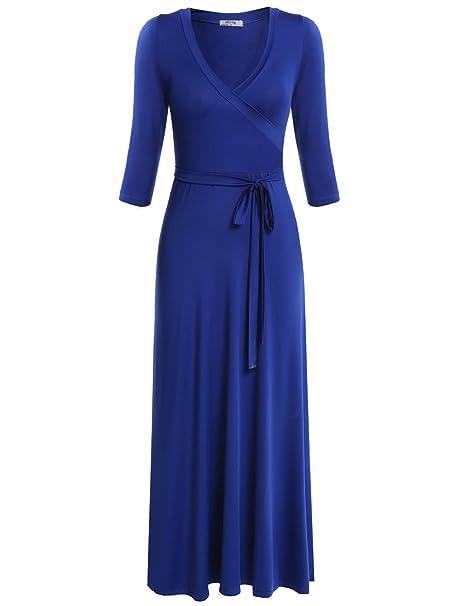 40b26bce06 Meaneor Women's 3/4 Sleeve Faux Wrap Maxi Dress Jersey Dress Plus Size, Blue