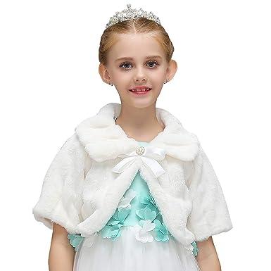 8c27af207 ASKEN Baby Girls Faux Fur Shrug Princess Wedding Party Cape Cute ...