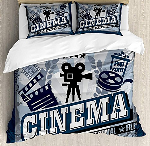 Bed Poster Size Set Full (Movie Theater 4 Piece Bedding Set Full Size, Vintage Cinema Poster Design with Grunge Effect and Old Fashioned Icons, Duvet Cover Set Quilt Bedspread for Childrens/Kids/Teens/Adults, Blue Black Grey)