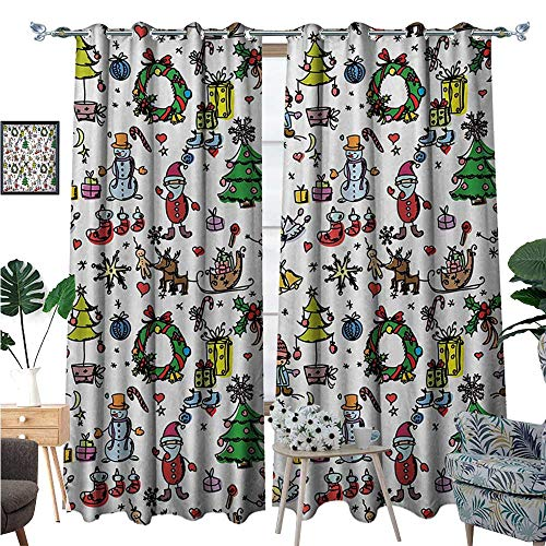 BlountDecor Doodle Window Curtain Drape Christmas Concepts Drawn in Cartoon Style Santa Snowman Children Presents Mistletoe Decorative Curtains for Living Room W72 x L96 Multicolor
