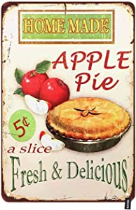HOSNYE Home Made Apple Pie Tin Sign Slice with Fresh Delicious Attractive Advertisement Vintage Metal Tin Signs for Men Women Wall Art Decor for Home Bars Clubs Cafes 8x12 Inch