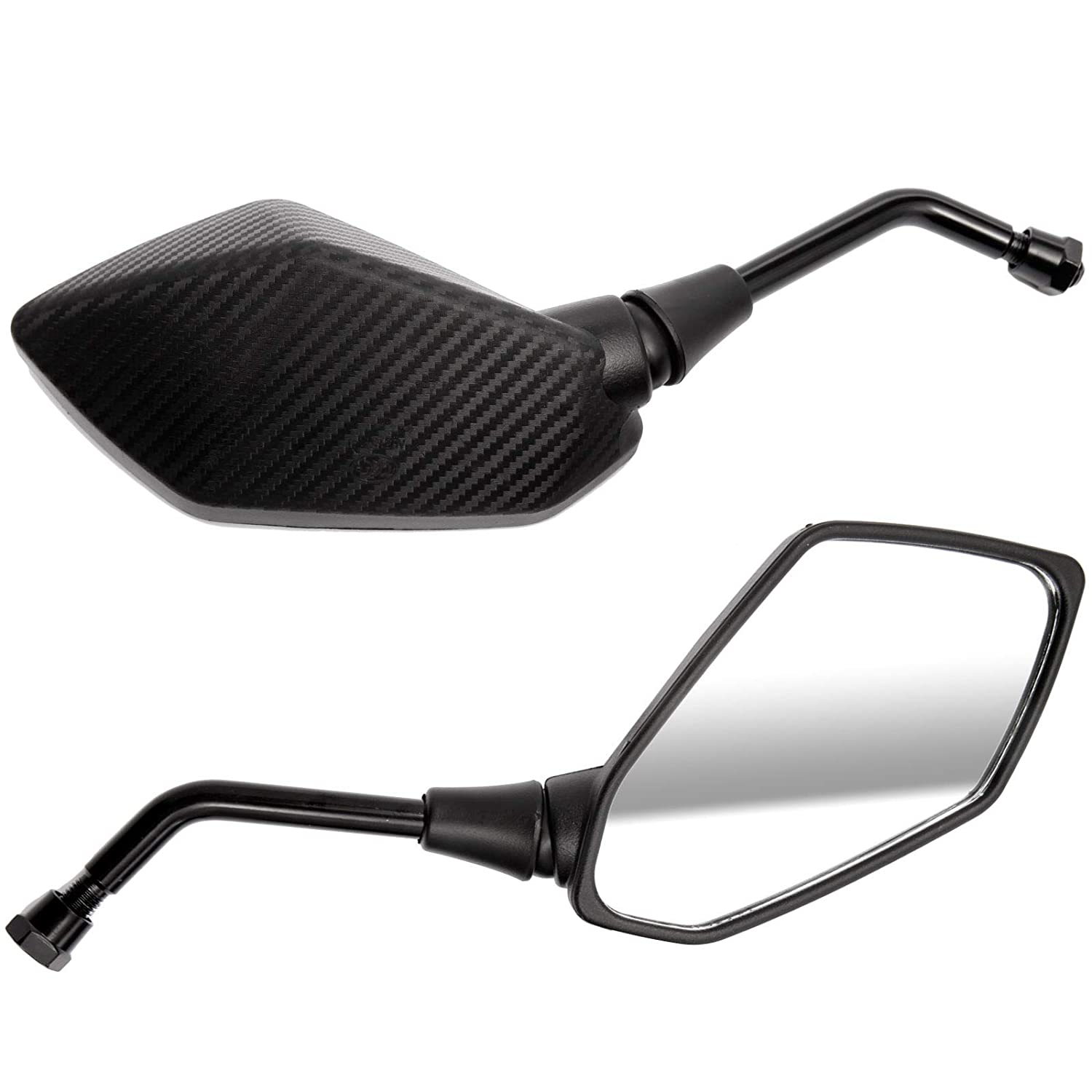 Angled Motorcycle Mirrors Universal 10mm Thread Bike Motorbike Pair 360 Degrees Rotate Black Carbon Effect