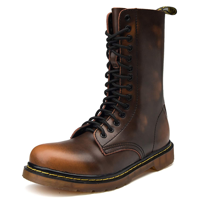 TqGold Herren Damen Leder Stiefel Kampfstiefel Warm Warm Warm Gefütterte Combat Stiefel Schnüren Winterstiefel Wasserdicht Worker Stiefel 12f097