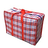 WallyE Waterproof Jumbo Cloth Storage Bags,WovenTravelling Bag, Red Gingham