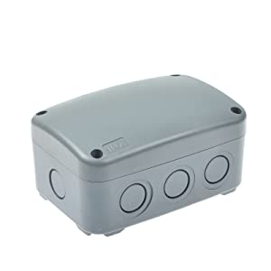 """Nineleaf ABS Plastic Dustproof Waterproof IP66 Junction Box Outdoor External Universal Electrical Project Enclosure Grey 125x86x62mm (5"""" 3 3/8"""" 2 7/16"""") HO-038 fit 20mm Cable Gland for Outdoor Use"""
