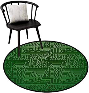 Durable Round Rug Digital for Bathroom Computer Art Backdrop with Circuit Board Diagram Hardware Wire Illustration Emerald Fern Green D47(120cm)