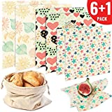 Reusable Beeswax Food Wrap 6 Pack - Eco Friendly Plastic Free Alternative to Saran Wrap - Biodegradable Bowl Cover, Sustainable Sandwich Wrappers - 2 Large, 2 Medium, 2 Small, 1 Cotton Bag
