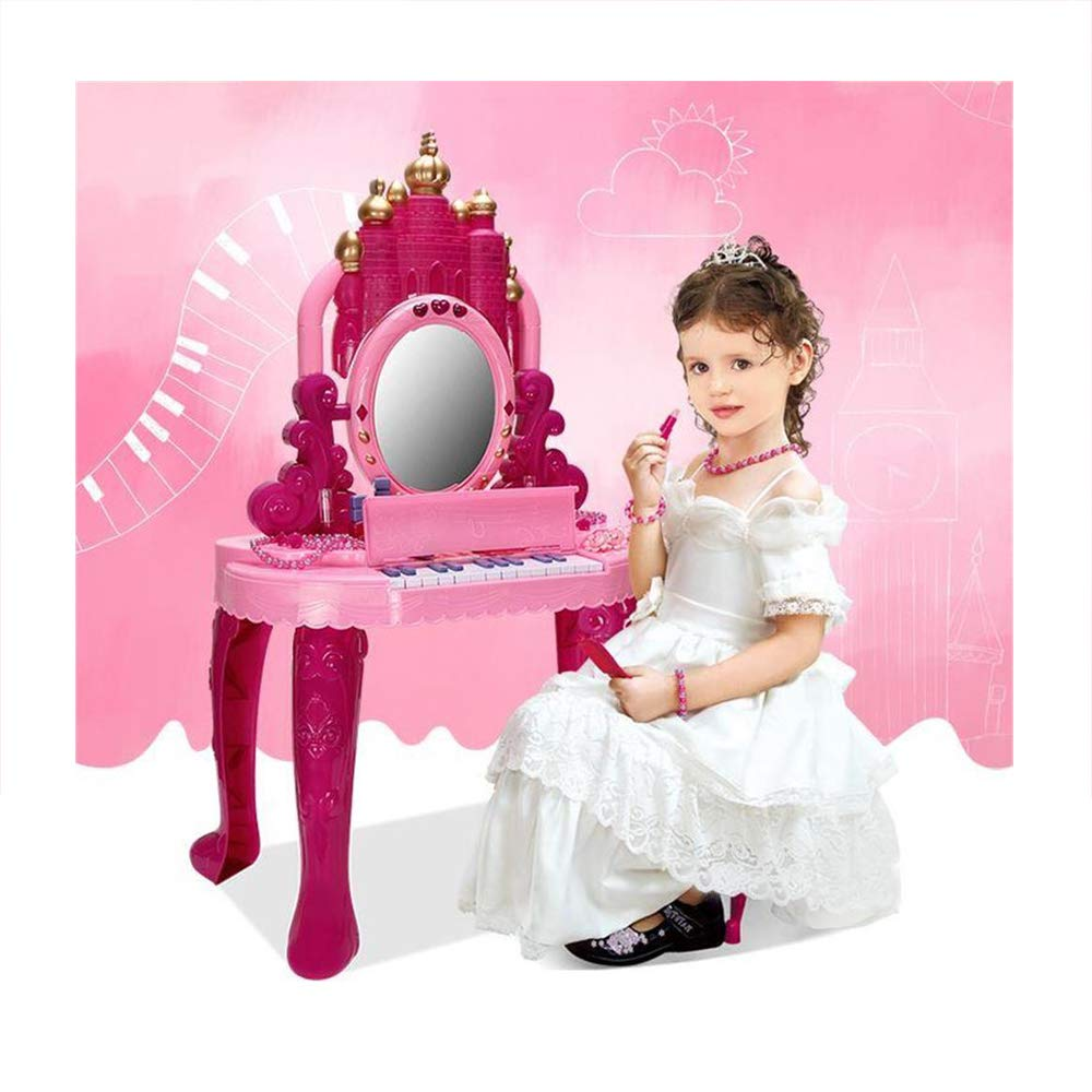 JFMBJS Girls Musical Dressing Table Set, Toy Vanity with Hairdryer and Accessories, Piano Princess Vanity Table Interactive Toys Dressing Table,Great Birthday Gift