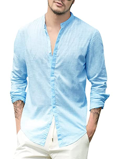be0a9b202f1 Makkrom Mens Casual Loose 3 4 Sleeve Banded Collar Cotton Shirt with Buttons