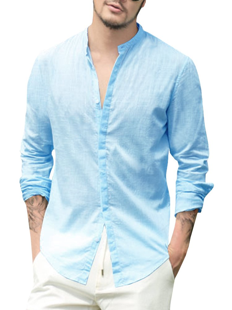 Runcati Mens Linen Long Sleeve Shirt Tees Loose Fit Vintage Button Down Blouse Summer Beach Casual Workout Tops