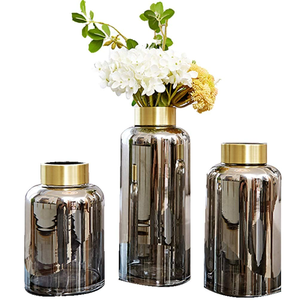 ガラス花瓶、北欧スタイルプノンペン滑らかな手芸フラワーアレンジメント装飾ホームリビングルームの寝室の理想的なギフト B07SHBJY8T