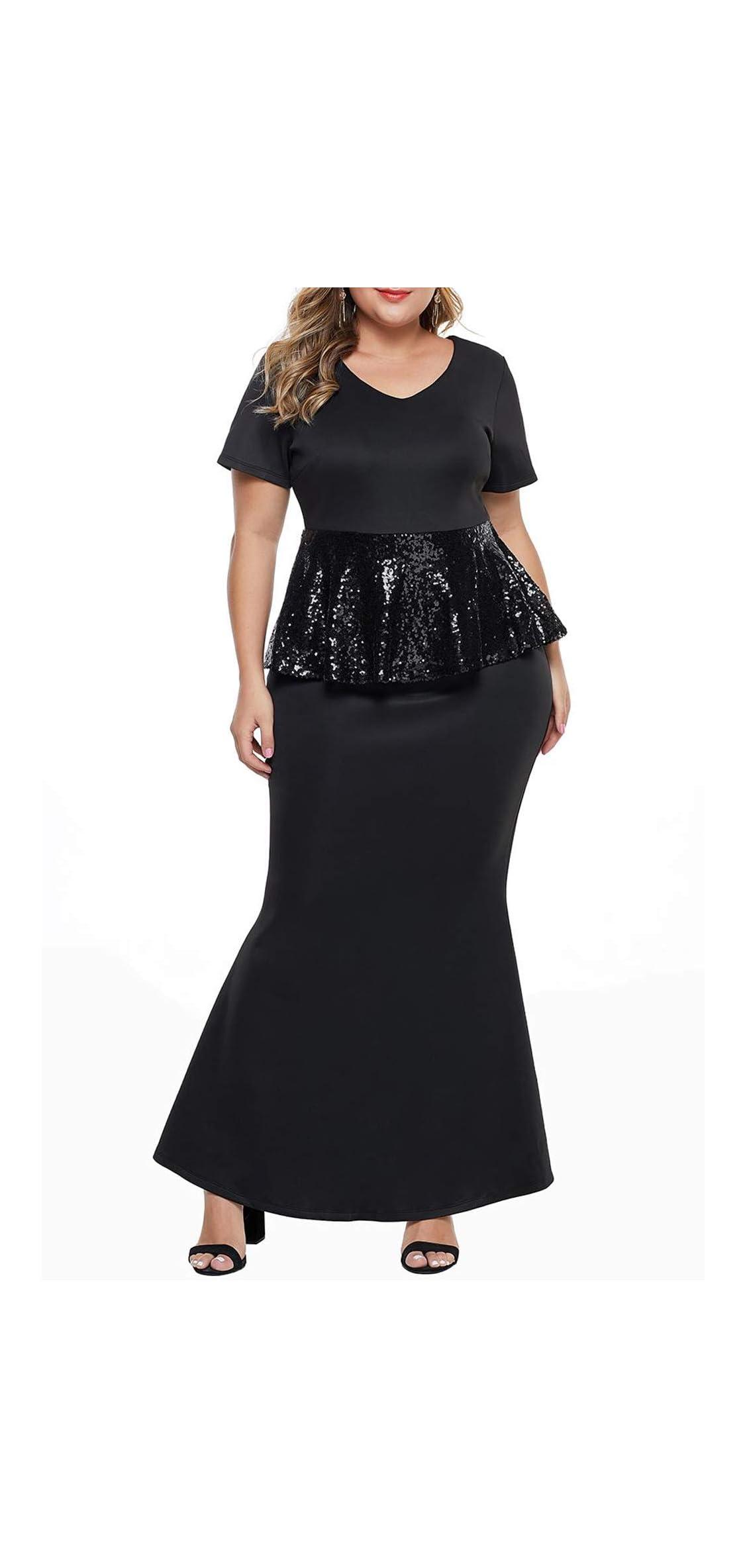 Women's Short Sleeve Rhinestone Plus Size Long Cocktail