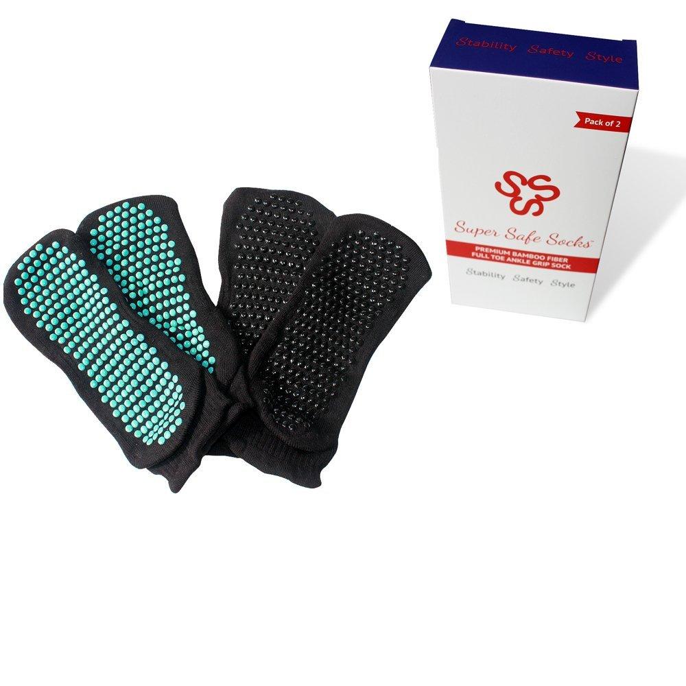 2 Pack Super Safe Socks Luxury Bamboo Non Slip Grip Sock Home Rehabilitation Nursing Home Chemo Physio Elderly Prevent Falls Best Grade Private Hospital Grade (2 Pack Black Mint, Small/Medium)