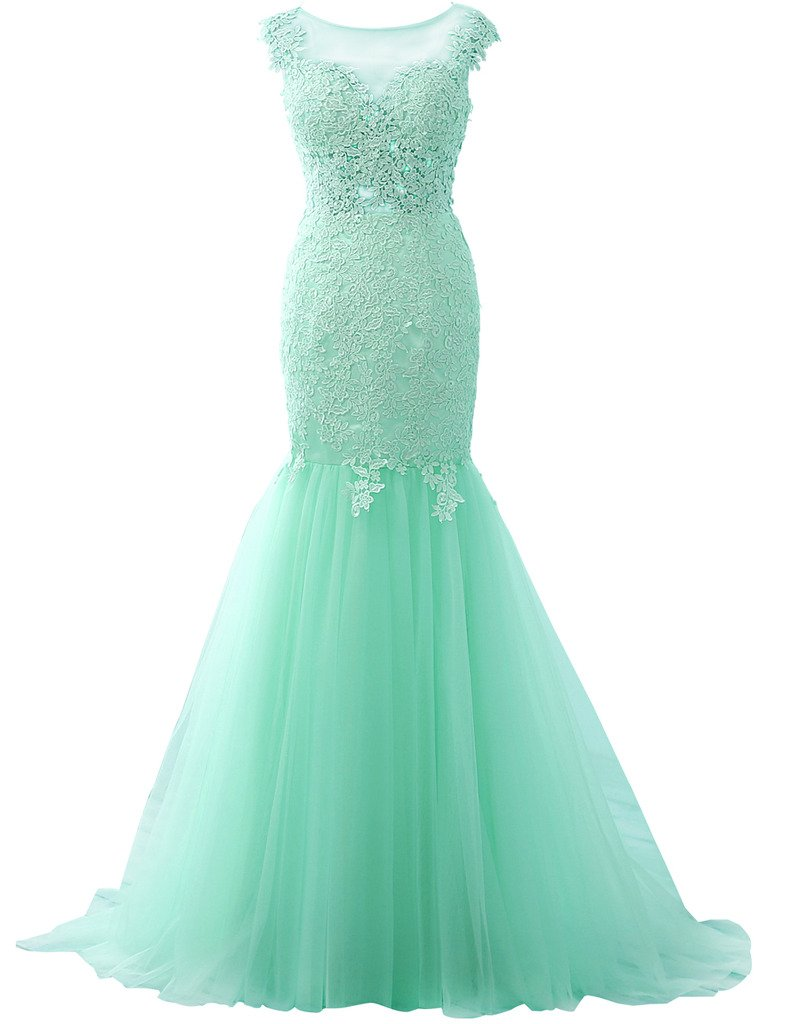 JAEDEN Appliqued Lace Evening Dresses Mermaid Prom Dress Long Gown Sexy Mint US10 by JAEDEN