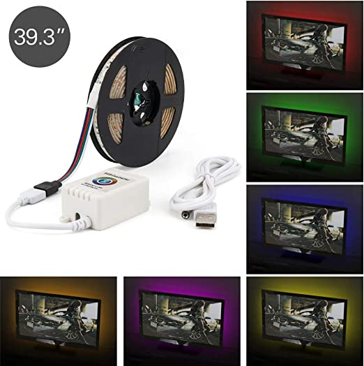 Gobesty Tira Led TV, 2.3M / 7.5ft USB TV Kit de luz de fondo Tiras de luz Aplicación Bluetooth Control Sincronización con música para TV Monitor de computadora: Amazon.es: Iluminación