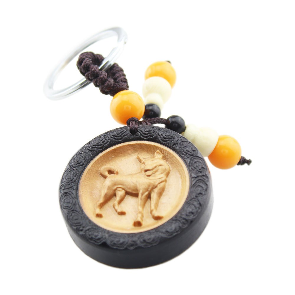 FOY-MALL Unisex Chinese Zodiac Dog Ebony Wood with Boxwood Inlay Key Chain M1084