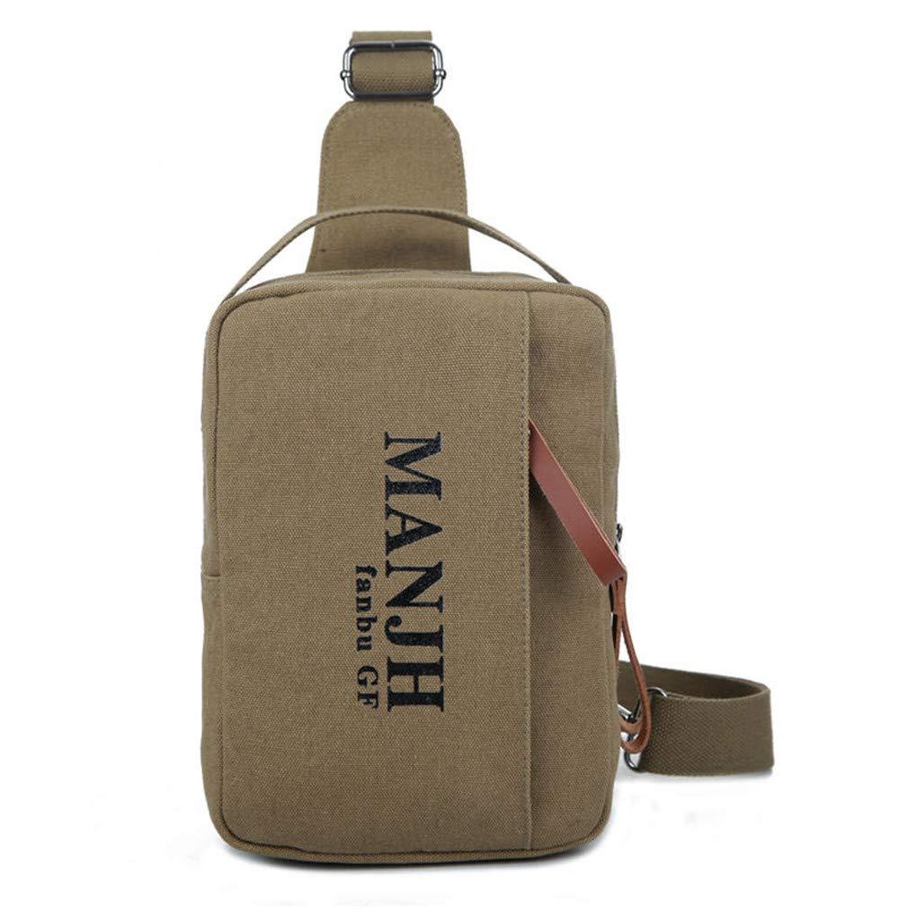 Men Crossbody Bag Canvas Chest Pack Bag Printing Letter Shoulder Messenger Bag Vintage Casual Sling Bag khaki