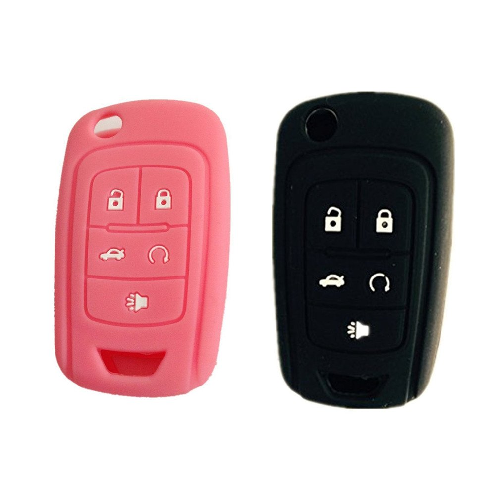 New 5 Buttons Silicone Cover Holder Key Jacket for Chevrolet Camaro Cruze Volt Equinox Spark Malibu Sonic Flip Remote Key Case Shell Cover Pink