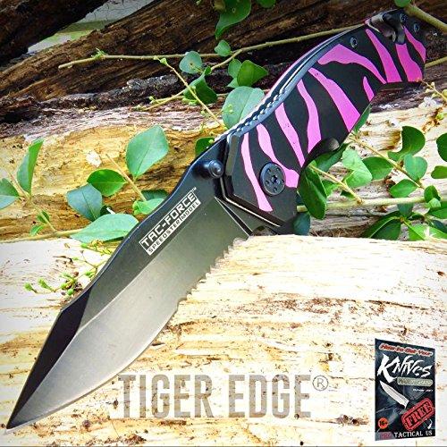 (Pocket Elite Spring Assisted Folding Knife Tac-Force Pink Black Tiger Stripes Serrated + free eBook by ProTactical'US)