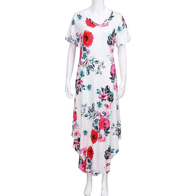 Kleid Damen Lang Schlitz Sommerkleid V Ausschnitt Minikleid Kurzarm Drucken  Kleider Elegant Freizeitkleid Locker (Weiß, S)  Amazon.de  Bekleidung 770b2b5d9f