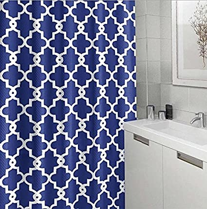 Eve Split Geometric Patterned Water Repellent Fabric Shower Curtain 72 Inch By