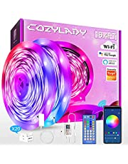 WiFi LED Strip Lights 65.6FT, Music Sync LED Light Strip Compatible with Alexa,Google Home Controlled by Smart APP, LED Lights 20m 600LEDs RGB Power Strip