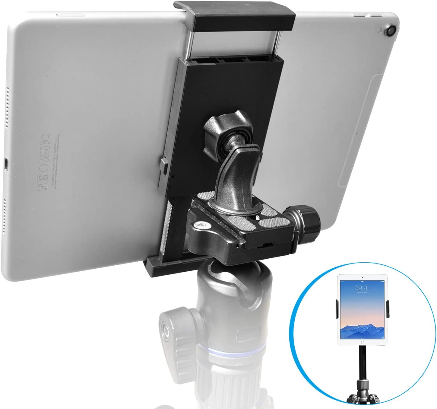 "Apple IPAD 2 3 4 Air 10/""Tablet 1//4-20 Video Camera Tripod Monopod Adapter Mount"