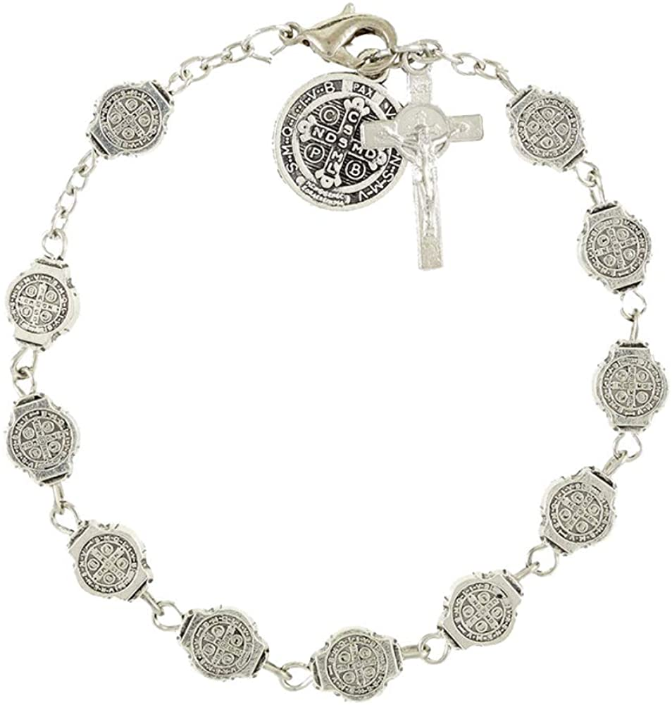 Saint Benedict Medals Rosary Bracelet, 7 3/4 Inch