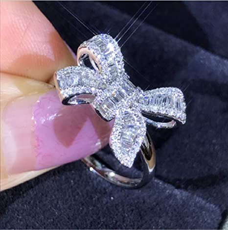 Bowknot 925 Silver Fashion Rings for Women White Sapphire Wedding Ring Size 6-10