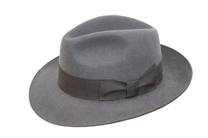 Men s Wool Grey Trilby Fedora Hat  Amazon.co.uk  Clothing 7dd1b1891791