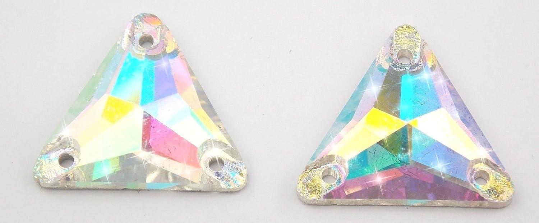 STRASS da Cucire Triangolo 4pz 2 fori 12x 12mm Cristallo aurora boreale ab Giorgetti Strass