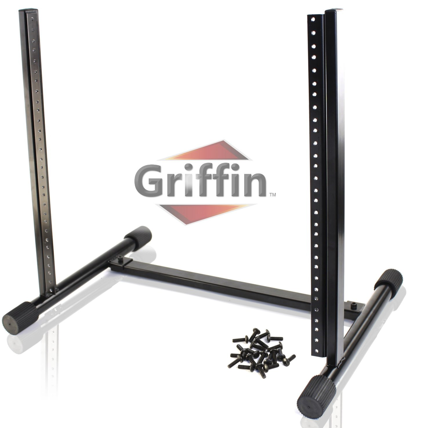 Rack Mount Stand with 10 Spaces by Griffin | Music Studio Recording Equipment Mixer Standing Case | RackMount Audio Network Server Gear for DJs, Stage Performers and Bands|Includes 20 Standard Screws by Griffin