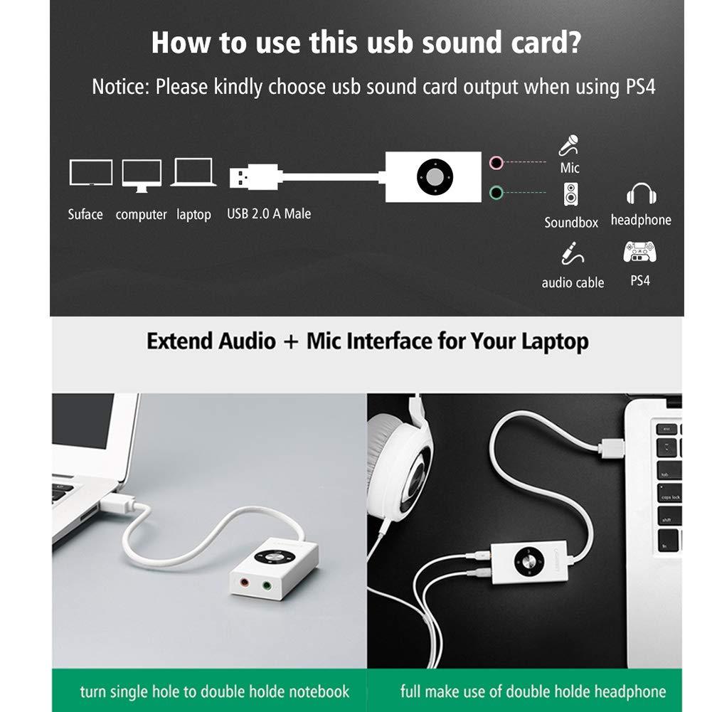 Smile Tarjeta de Sonido Externa USB, Cable Adaptador estéreo USB ...