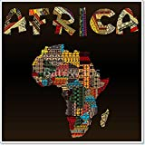Africa map with African typography made of patchwork fabric texture Paper Print Wall Art (42in. x 42in.)
