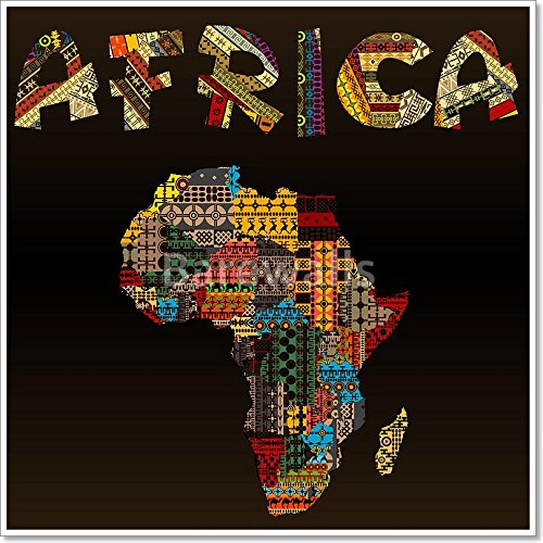 Africa map with African typography made of patchwork fabric texture Paper Print Wall Art (42in. x 42in.) by barewalls