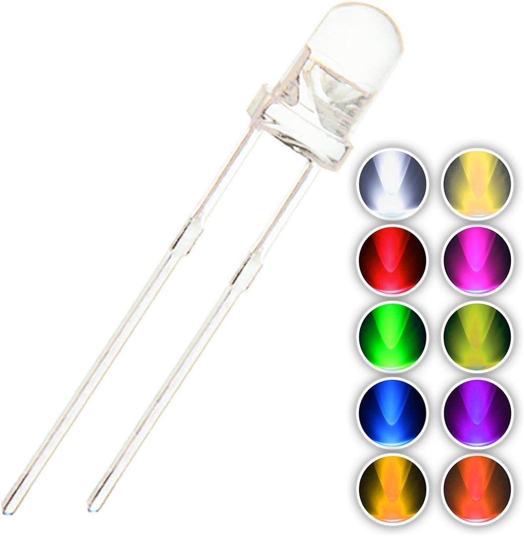 10 x Flashing Yellow 3mm LED Light Bulb