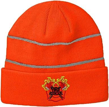 Thin Red Line Heart Firefighter Original Beanie Hat Mens Womens 100/% Acrylic Knitting Hat Cap