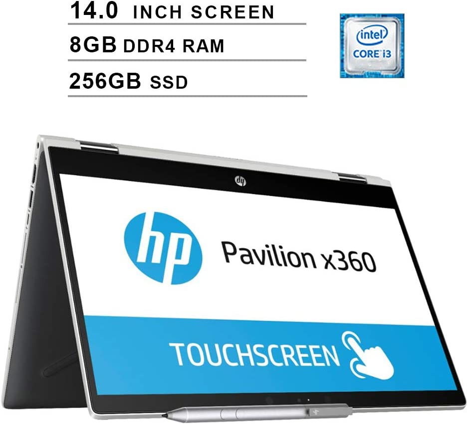 2020 Premium Flagship HP Pavilion x360 14 Inch HD 2-in-1 Laptop Computer (Intel Core i3-8130U, 2.2GHz up to 3.4GHz, 8GB RAM, 256GB SSD, HDMI, WiFi, Bluetooth, B&O Audio, NO DVD, Windows 10)