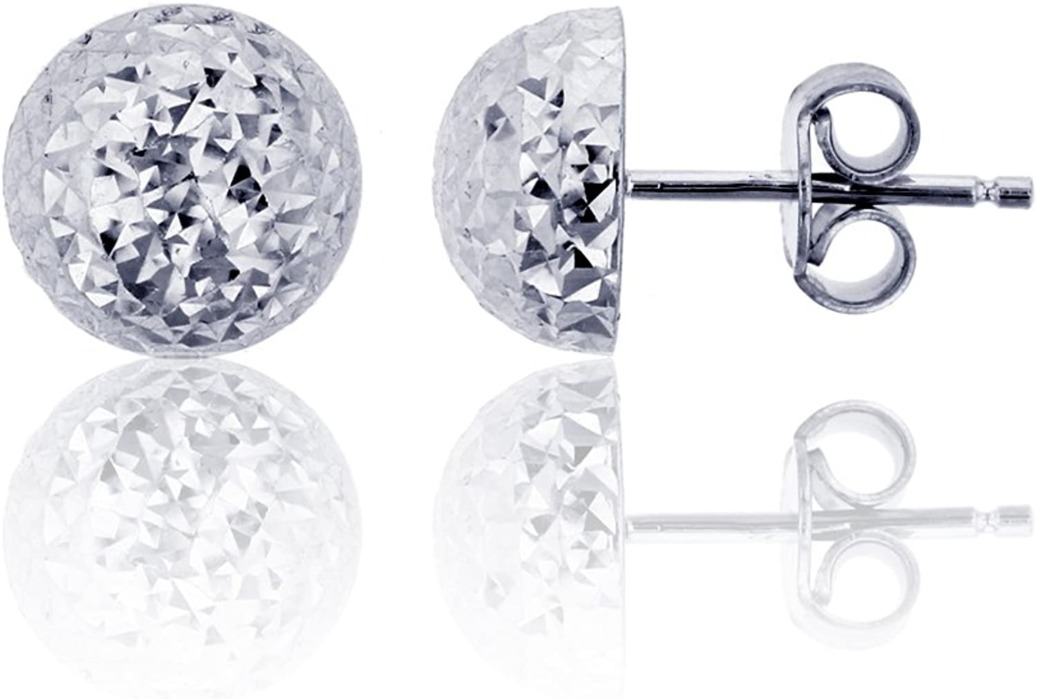 14K White Gold Diamond Cut Half Ball Stud Earring