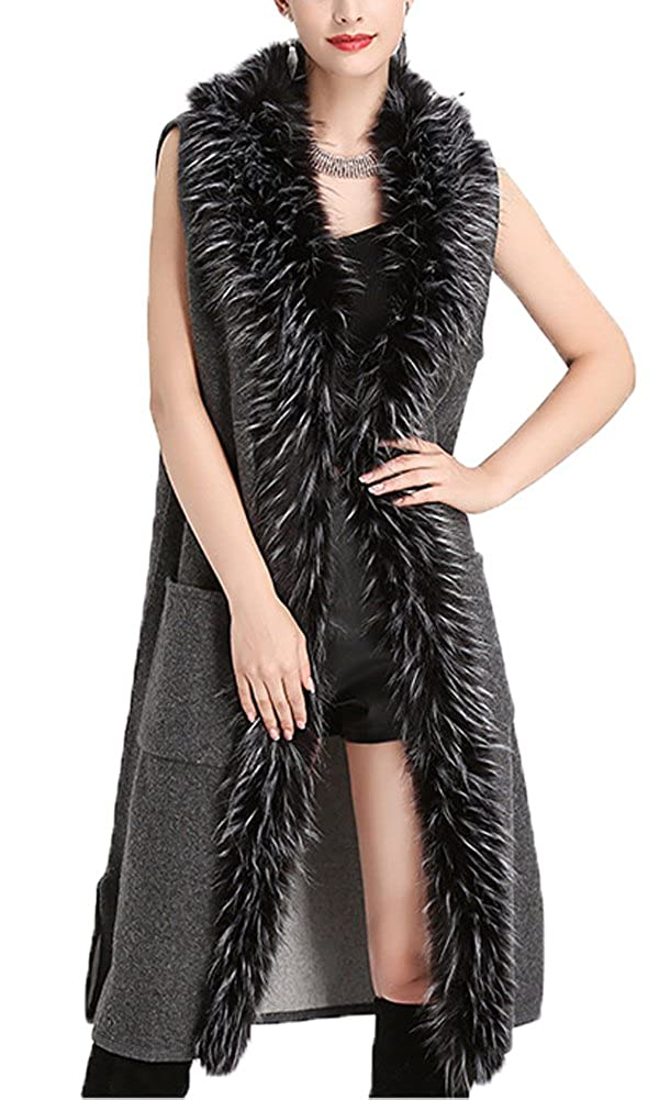 FOLOBE Women Spring and Autumn Imitation Raccoon Faux Woolen Collar Sleeveless Knit Cardigan Sweater Vest Female Coat WP062-Black