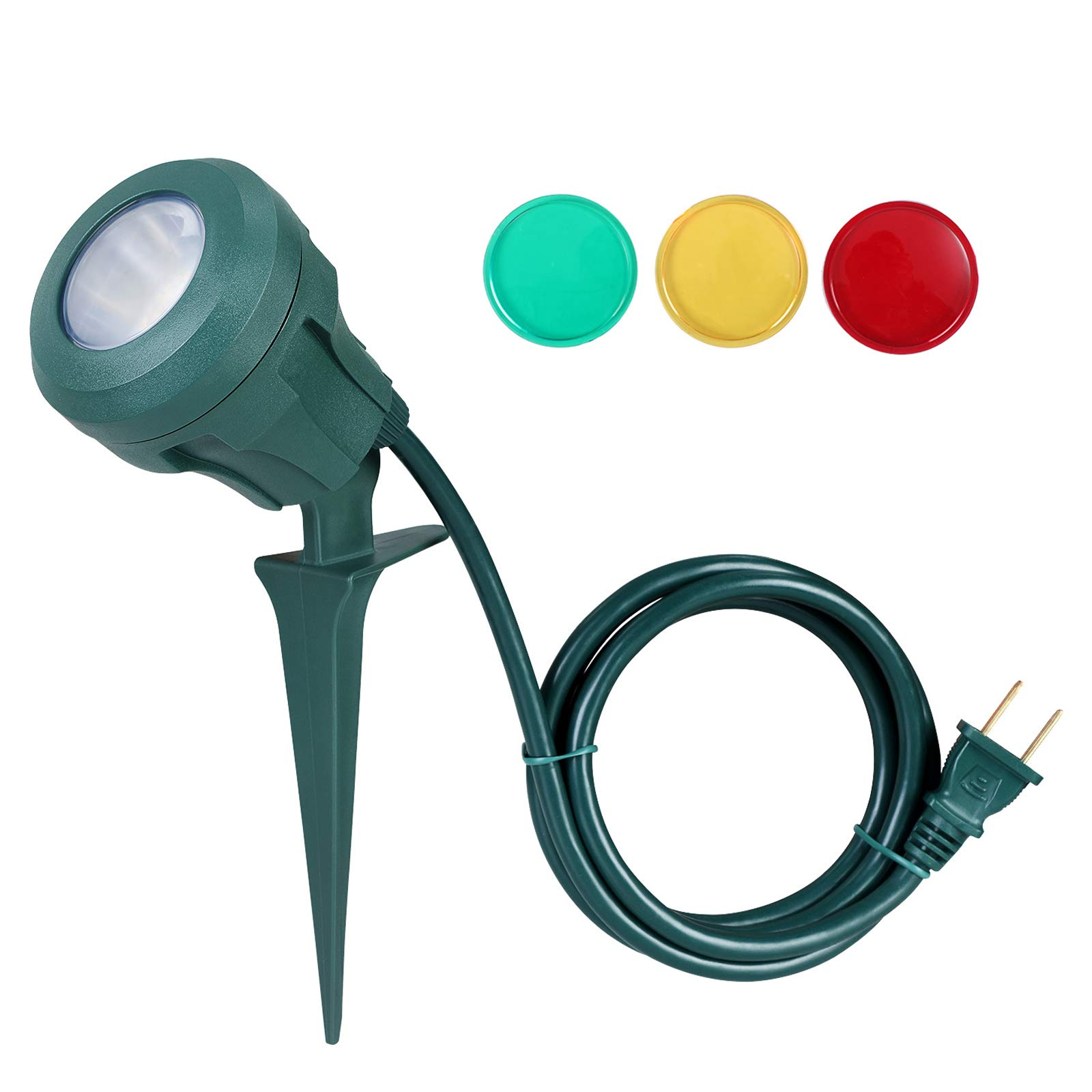 DEWENWILS Outdoor Spotlight Stake with Plug, 400lm LED Waterproof Flag Light with 3 Lenses (Red Yellow Green) for Halloween,Tree,Yard,5 FT Extension Cord,UL Listed by DEWENWILS