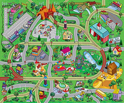 "Large ""My Town"" Play Mat with Airport, Town, Train Tracks an"