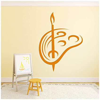 Brush And Pallet Art Paint Educational Wall Stickers School Classroom Art Decals Available In 5 Sizes And 25 Colors X Small Lemon Yellow