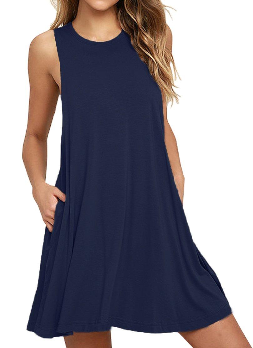 Iandroiy Women's Tunic Swing Shirt Dress Sleeveless Beach Dress (Navy blue M)