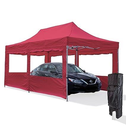 Vispronet Red 10x20 Aluminum Carport Canopy Tent With 2 10x20 Window Walls,  1 10x10 Window