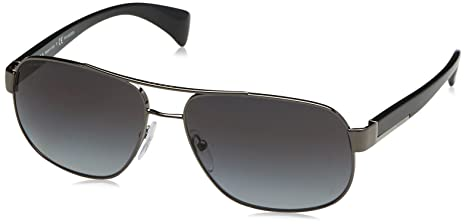 4b1c88838d Image Unavailable. Image not available for. Colour  Prada Men s Polarized  PR52PS-5AV5W1 Silver Aviator Sunglasses