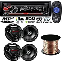"JVC KD-R470 Single DIN In-Dash CD/AM/FM/ Car Stereo + (2) JVC CS-DR620 300W Peak (50W RMS) 6.5"" 2-Way Factory Upgrade Coaxial Speakers + SW1850 Digital Audio Speaker Wire, 18 AWG, (50 feet)"